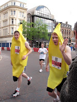 Two runners dressed as bananas running in the Belfast Marathon 2010 - photo by Nicky Getgood