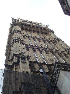 The view of Westminster (the tower holding Big Ben) as you come up the stairs on the way out of Westminster tube station