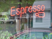 Western Novel blog article with Espresso coffee shop window