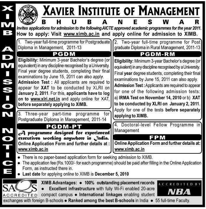 Admision Mantra: Xavier Institute of Management, Bhubaneshwar ...