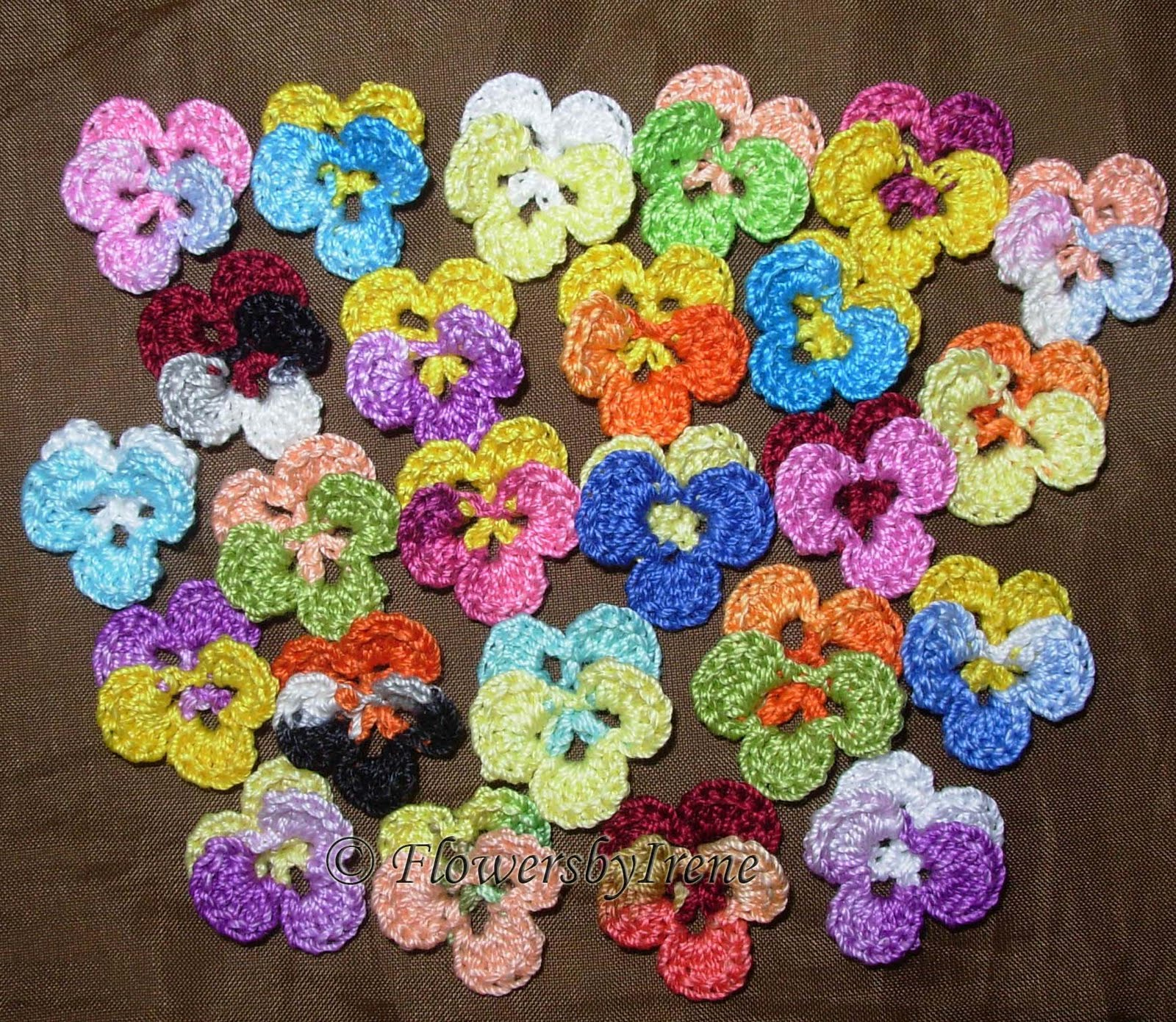 Crochet Flowers I love pansies