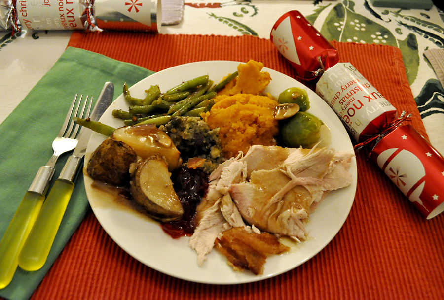 And here is our traditional Christmas dinner. Roast turkey and stuffing with roasted potatoes steamed brussels sprouts mashed yams green beans fried in ... & Tomatoes From Canada: Christmas Day