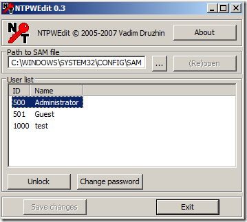 NTPWEdit – Free Reset Windows Password