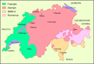 Mapa idiomas Suiza