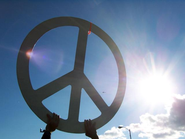 big pics of peace signs. quot;In protest of what it calls a