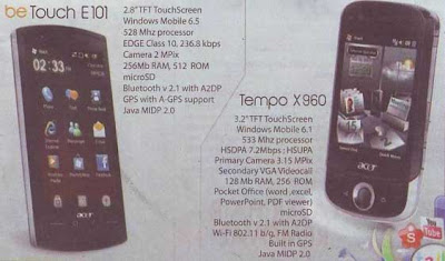 Acer beTouch E101 and Acer Tempo X96