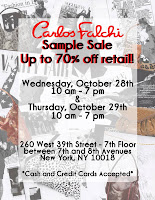 Carlos Falchi sample sale 10/28-29 in NYC! featured on Shopalicious.com
