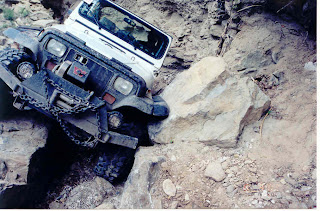 old jeep wrangler off-road in the northwest