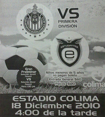 Chivas vs Estudiantes Tecos en Colima 18 Diciembre de 2010