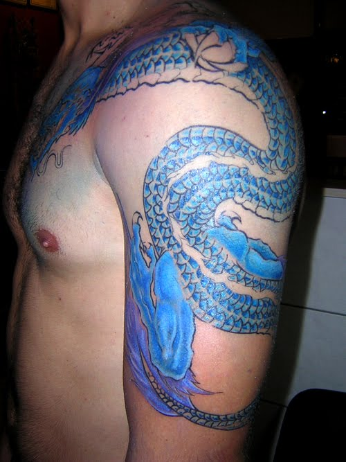 back celestial dragon tattoos. back tattoos blue dragon tattoo sleeve