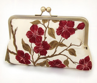 Embroidered silk blooms clutch purse