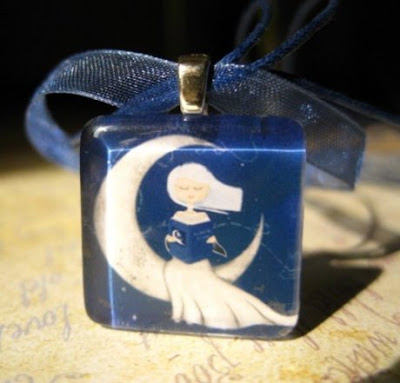 In The Moonlight - glass tile pendant