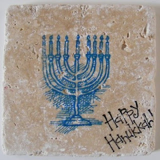 HANUKKAH MENORAH TILE COASTERS
