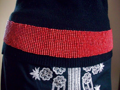 Bangalore Coral Glass Beaded Belt