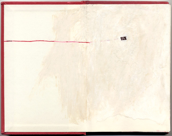 2003, And Other Observations, 2007. pen, acrylic & collage on altered book.