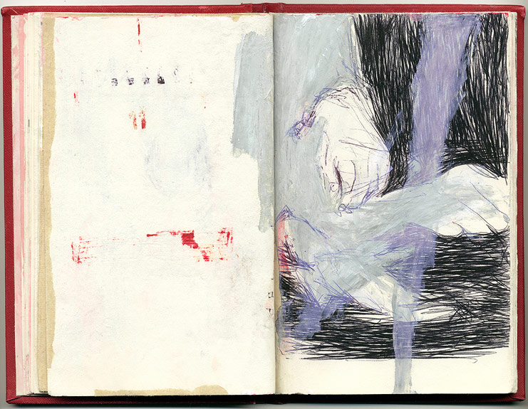 (stains), And Other Observations, 2007. pen, acrylic & collage on altered book.