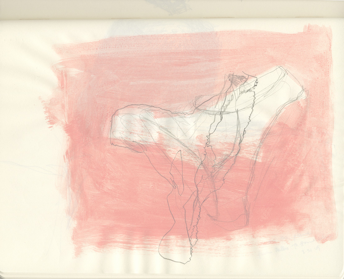 Pink Underwear, 2009. pencil and acrylic wash in sketchbook. 19 x 25cm