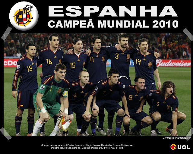 Copa 2010, time espanho, espanhois campeaes poster de todos eles repercussão espanha campeã madrid jogadores poster