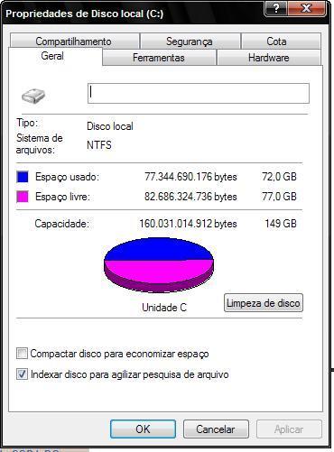 propriedade do computador, disco cheio, disco vazio, disco ocupado, windows xp, windows