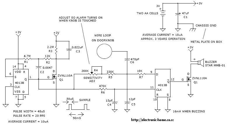Door Touch Alarm System Circuit Diagram