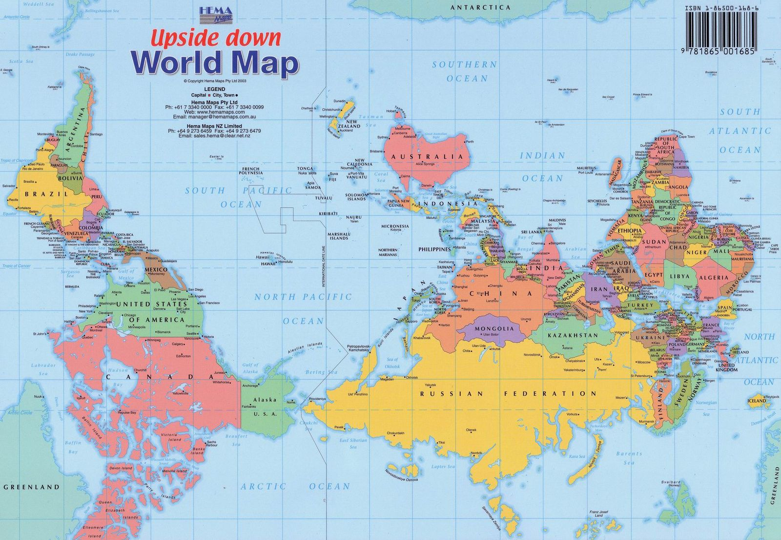 d e c e p t o l o g y upside down world map shows north is up