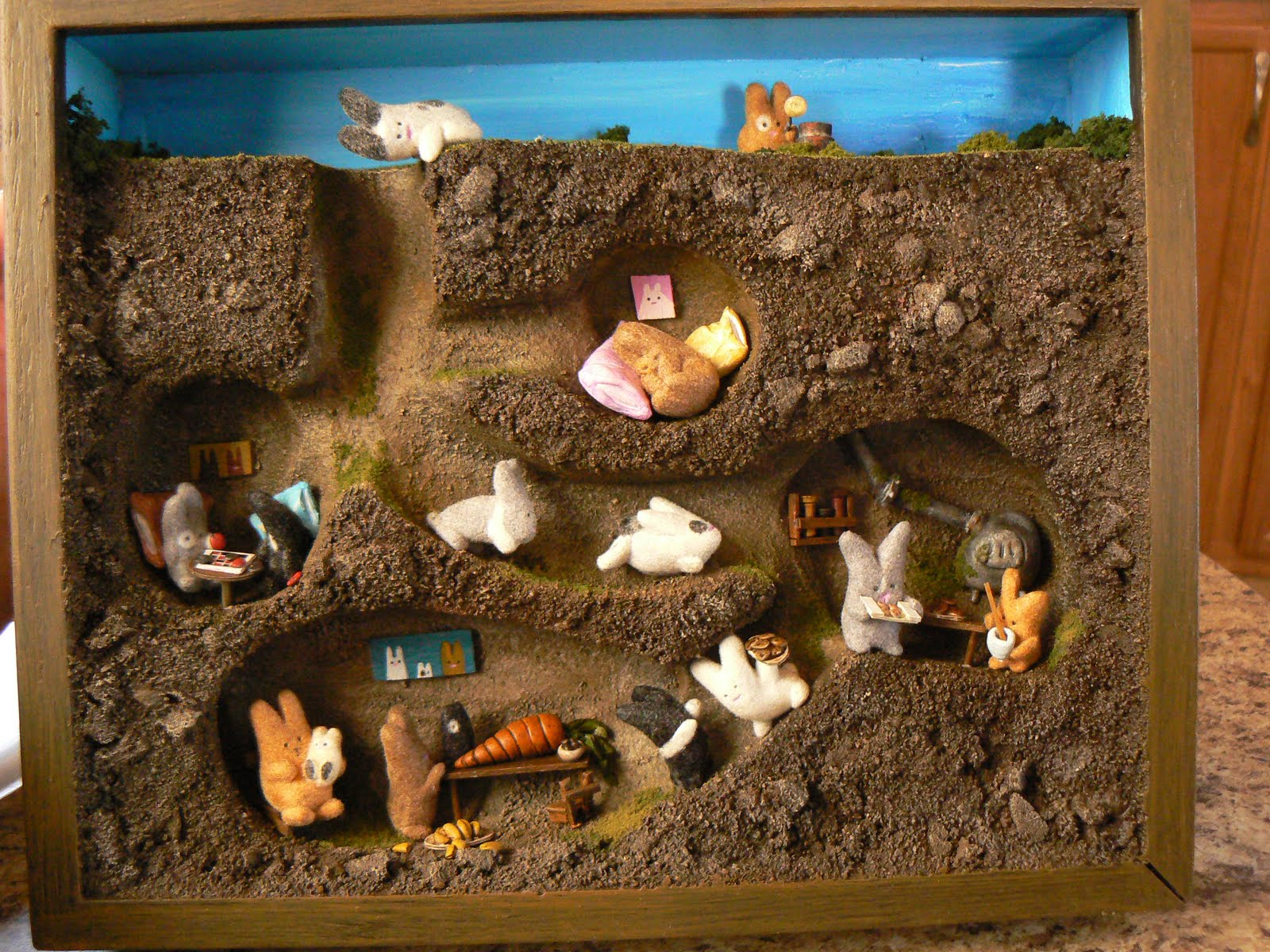 The bare bear lair hoppy bunny thanksgiving dinner diorama for In and out pictures
