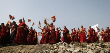 Tibet Monks Protest Chinese