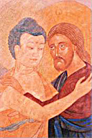 Christ Buddha embracing