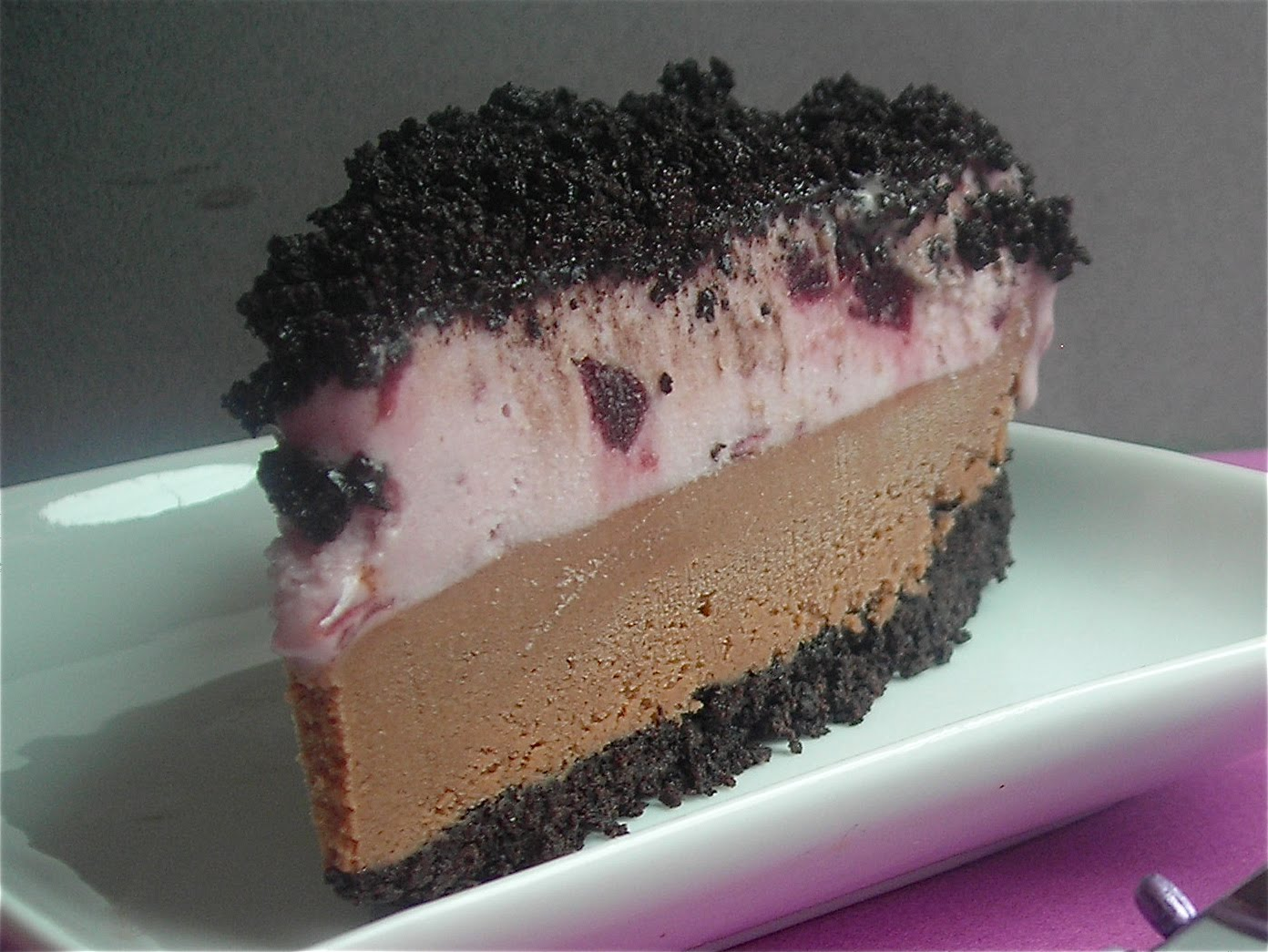 SOY ICE CREAM CAKE WITH A CHOCOLATE COOKIE CRUMB CRUST.