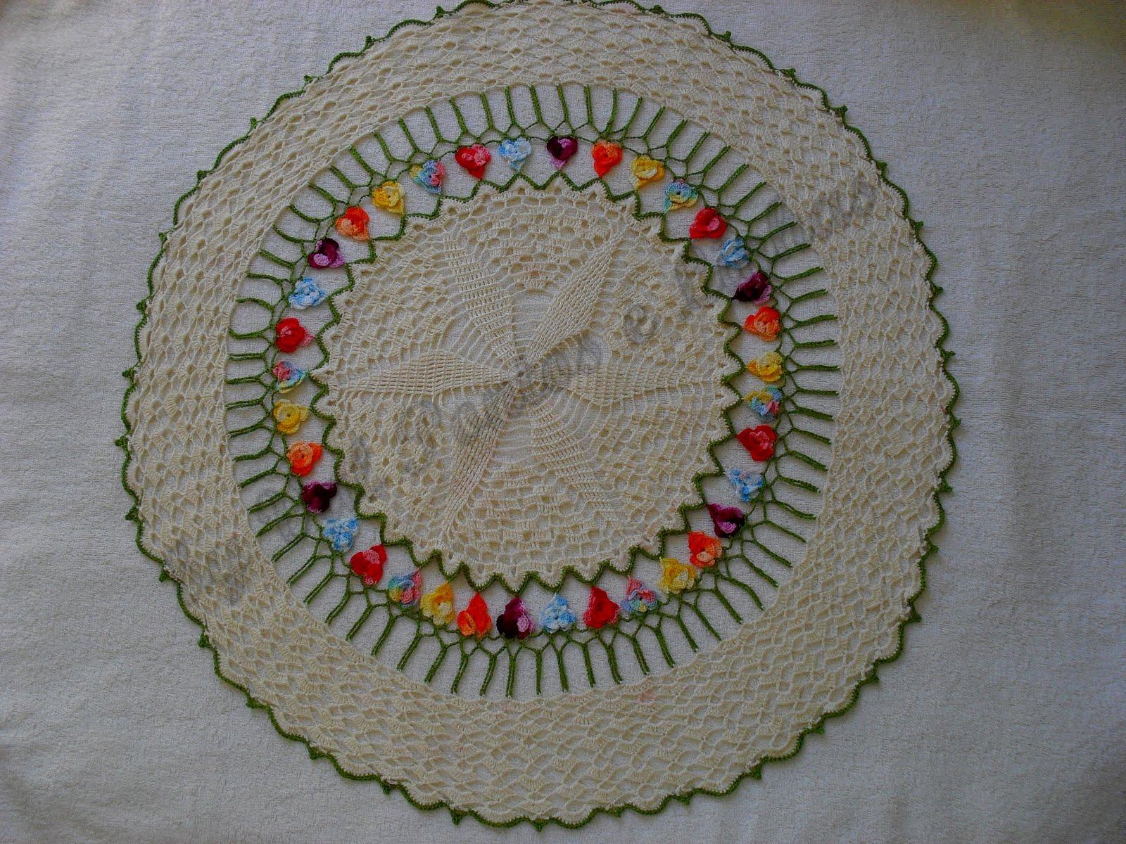 Www Croche : Pontos e Linhas: Toalha de Croche com flores coloridas