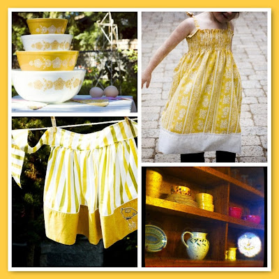 mustard yellow mosaic apron pyrex dress