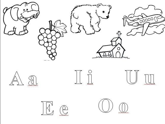 Colorea los dibujos que empiecen con las vocales - Imagui