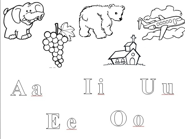 Imagenes para colorear que sus empiecen con las vocales - Imagui