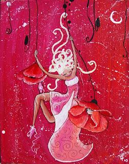 une princesse se balance dans les coquelicots, elle est suspendue le fons est rose elle a de longs cheveux blonds cette illustration cette peinture est réalisée par laure phelipon