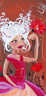 une princesse, une fée qui a un coquelicot dans les mains et d'autres autour de sa grande robe de princesse elle est belle et sensuelle le fons est marron cette illustration et peinture est réalisée par laure phelipon