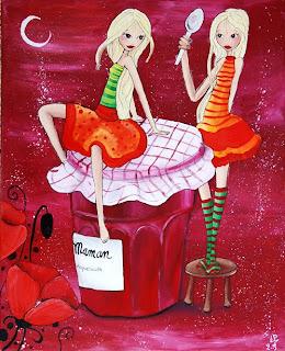 fées princesses confiture de cerise, coquelicot petite cuillère en argent illustration illustratrice peinture fête des mamans
