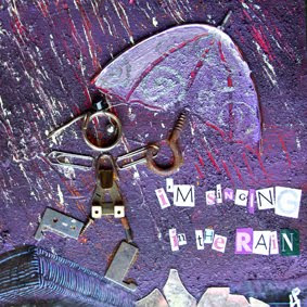petite illustratrice sous la pluie est une illustration en collage réalisé pour la galerie carré d'artiste, la fille a des bottes un chapeau et un parapluie