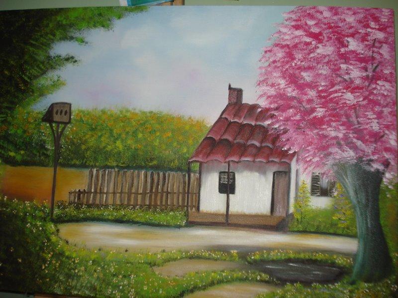 Pintura em tela e tecido casa no campo for Pinturas para casas de campo