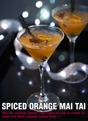 Madhouse family reviews the spiced orange mai tai for Christmas in a glass cocktail
