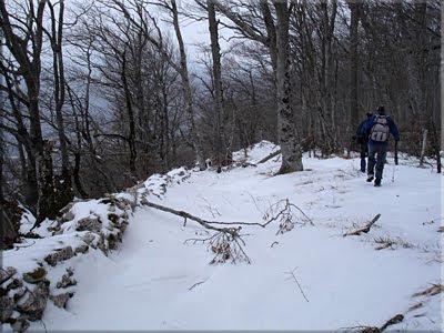 Siguiendo la cresta entre el murete y la alambrada