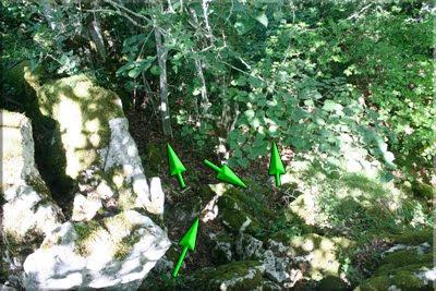 Trazas de senda en la roca