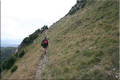 Un herboso sendero rodea la cima