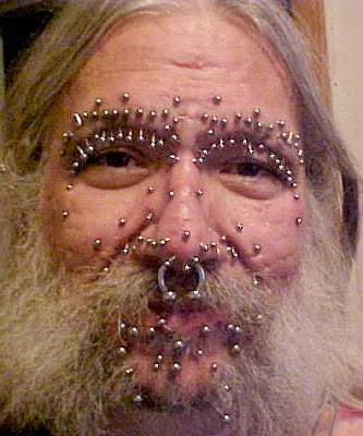 Body Piercing Full Face Style on Man