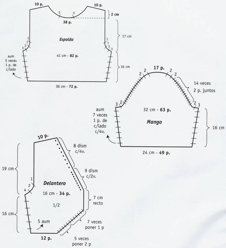 Patrones de Tejido Gratis - Bolero con encaje blanco, lila y matizado
