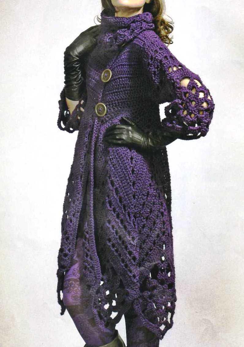 Patrones de Tejido Gratis - Abrigo morado crochet
