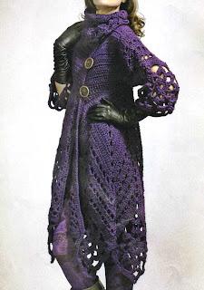 Abrigo morado crochet