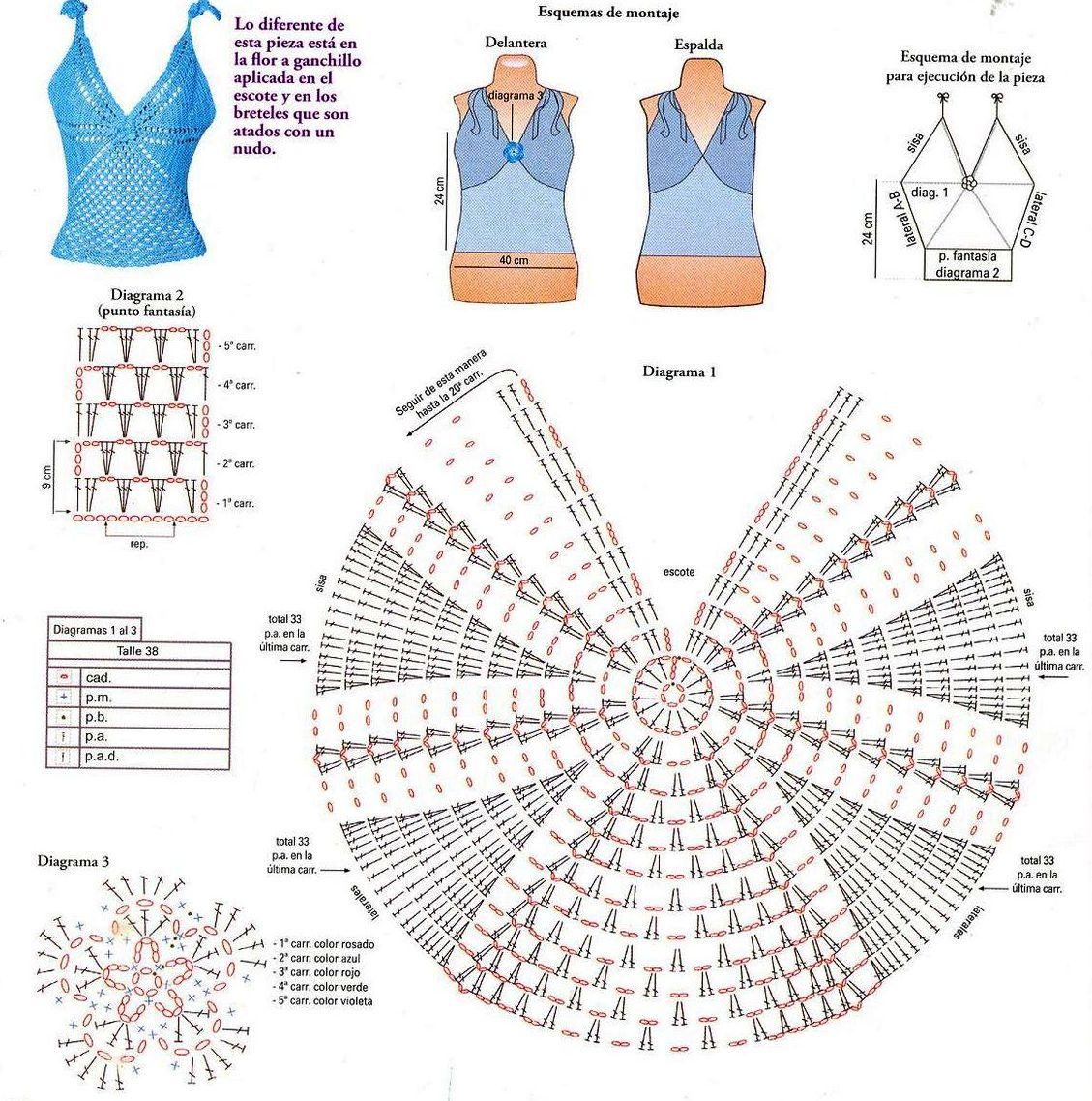Diagramas de blusas a crochet - Imagui