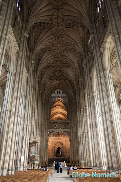 Looking down the nave of Canterbury cathedral