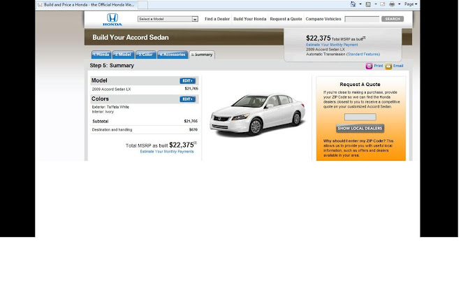 Honda Retail Prices for 2009 Accord