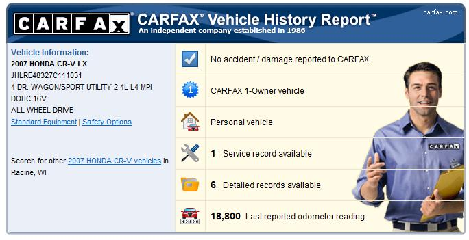 Free CARFAX report for this CRV page 1